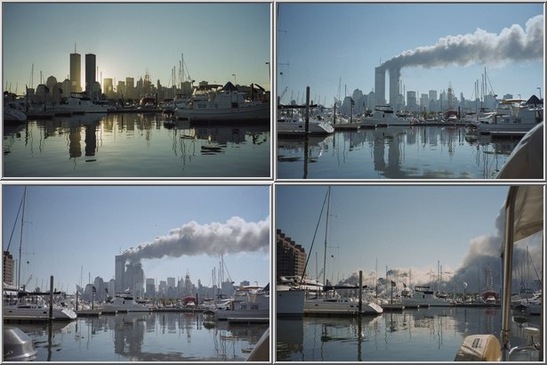 Pictures of the Twin Towers taken at 6:45 am, 9:30 am, 9:59 am, and 11 am on September 11, 2001 (Spiegel)