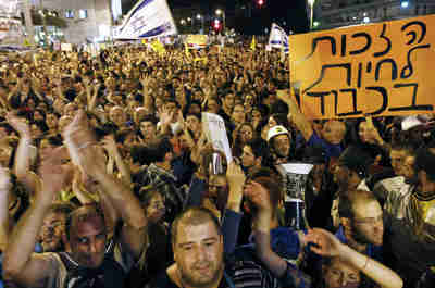 Protest rally in Tel Aviv on Saturday (Reuters)