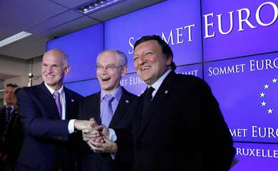 From July 21: Prime Minister of Greece George A. Papandreou, European Council President Herman Van Rompuy. and European Commission President José Manuel Barroso exult with joy over bailout agreement for Greece (Kathimerini)