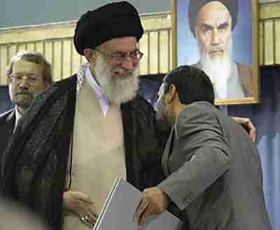 Ahmadinejad kisses supreme leader Khamenei on the shoulder after winning 2009 election