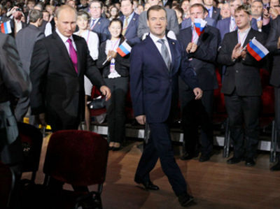 Putin and Medvedev on Saturday