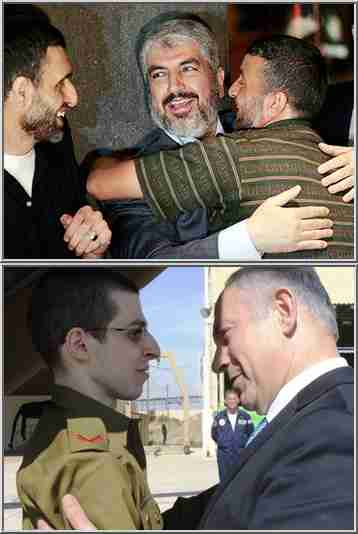 Top: Hamas Politburo Chief Khaled Mashaal embraces Palestinian inmates in Cairo (AP).  Bottom: Israel's Prime Minister Benjamin Netanyahu (R) greets Israeli soldier Gilad Shalit (Reuters)