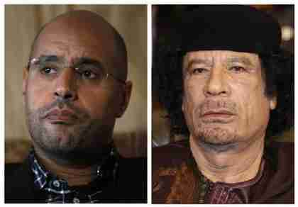 Saif al-Islam and Muammar Gaddafi file photos (Reuters)