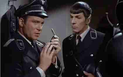 Captain Kirk and Mister Spock dressed as Nazis