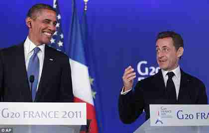 Obama and Sarkozy at G-20 meeting (AP)