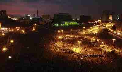Tahrir Square on Monday night, a scene starkly reminiscent of last January's uprising (Reuters)
