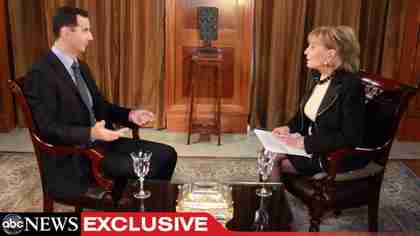 Bashar al-Assad interviewed by Barbara Walters on Wednesday