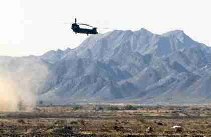 A US helicopter flies near Shamsi air base in Pakistan (AFP)