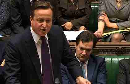 David Cameron in Commons on Monday with Nick Clegg missing (AFP)