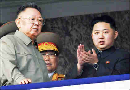 Kim Jong-il left, Kim Jong-un right, in October 2010 (Korea Times)