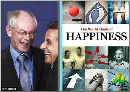 Herman Van Rompuy (left) spreads happiness to French president Nicolas Sarkozy