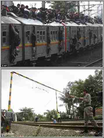 Top: Commuters cover the roof and hang from doorways.  Bottom: Authorities install concrete balls that will knock people off the roofs.  (Daily Mail / AP)