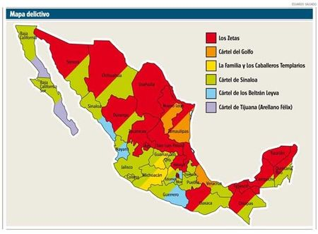 The drug cartels have carved up their pieces of Mexico as illustrated in this map. Los Zetas' territory is the red colored areas on the map. (Justice in Mexico Center)