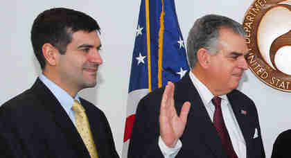Sam LaHood, left, at the swearing in ceremony of his father, Ray LaHood (AP)