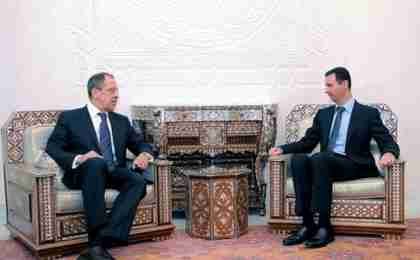 Russia's Sergei Lavrov meets with al-Assad in Damascus on Tuesday