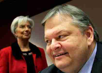 IMF Chief Christine Lagarde and Greece's Finance Minister Evangelos Venizelos (Kathimerini)