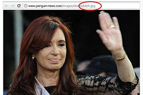 Filename for photo of Kirchner is 'bitch.jpg'
