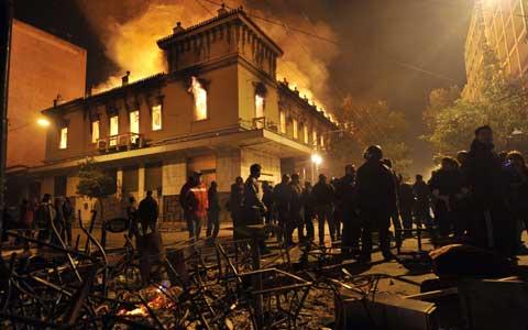 Athens burning on Sunday