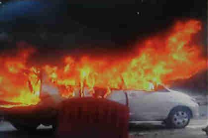 Bombed car in New Delhi on Monday