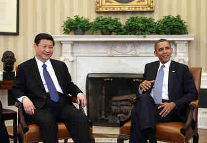 Xi Jinping and Barack Obama on Tuesday (Xinhua)