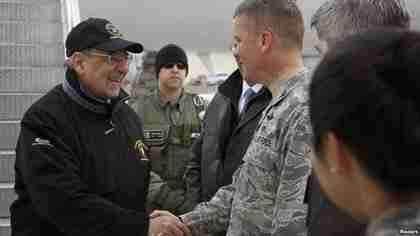 Panetta visits Manas military base in Kyrgyzstan on Tuesday (Reuters)