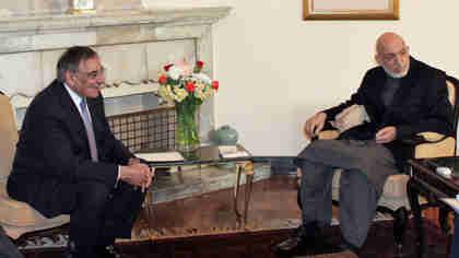Leon Panetta and Hamid Karzai in Kabul on Thursday (AP)