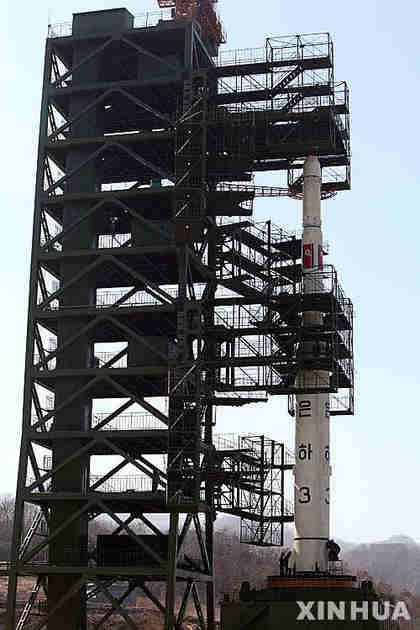 North Korean missile prior to launch (Xinhua)