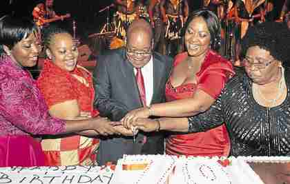 Jacob Zuma on Friday with his fianc� (far left) and three existing wives.  The one on the far right is Sizakele Khumalo, whom he met in 1959, and who doesn't look very happy.