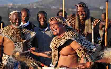 South Africa president Jacob Zuma in traditional Zulu wedding garb (EPA)