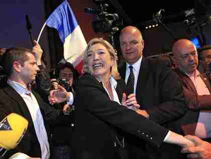 An ebullient Marine Le Pen after Sunday's presidential election in France (Reuters)