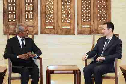 Kofi Annan meets with Bashar al-Assad in Damascus last month (SANA)