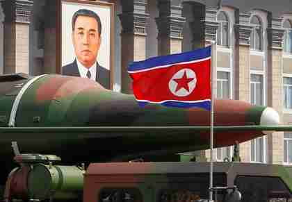 Missile photo taken during Pyongyang's April 15 military parade.  The missile's surface is undulated, and appears to have an iron-on patch in one place.  (AP)