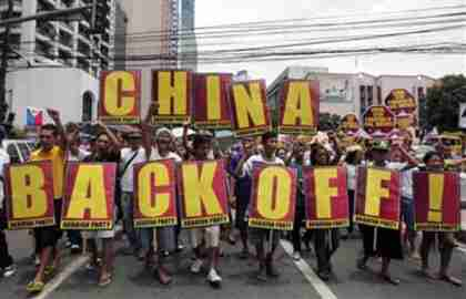 Protesters marching towards the Chinese consulate during a rally in the Philippines