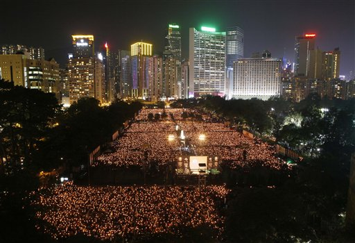 Monday's Tiananmen Square massacre vigil in Hong Kong's Victoria Park