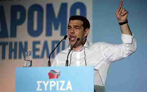 Alexis Tsipras at a campaign rally on Thursday