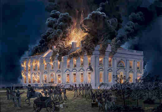 Tom Freeman's painting of the August 24, 1814, burning of the White House by British troops during the War of 1812.