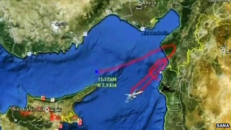 Syrian TV depiction of warplane's meandering path between Cyprus and Syria (SANA/BBC)