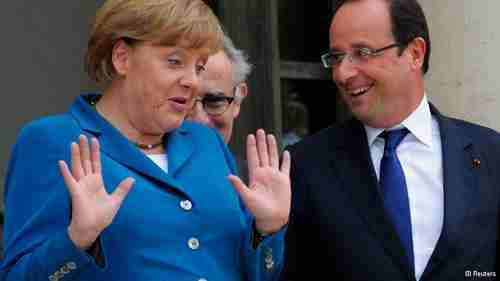 Angela Merkel and Fran�ois Hollande in Paris on Wednesday (Reuters)