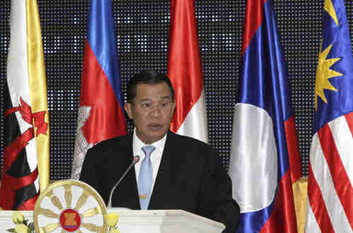 Cambodia's Prime Minister Hun Sen at ASEAN meeting, where he strongly sided with China against Vietnam and Philippines.  (Reuters)
