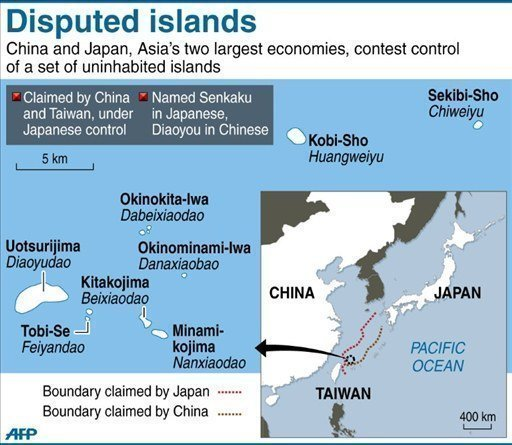 Map showing locations of disputed islands (AFP)