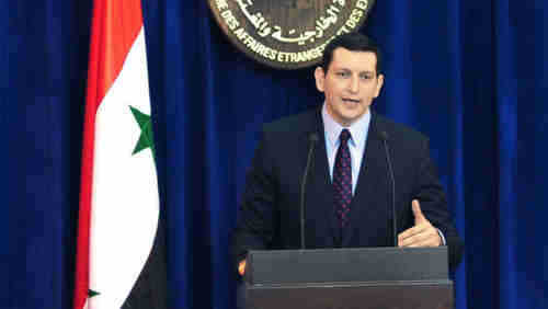Jihad Makdissi, Syria's new superstar foreign ministry spokesman on Monday (AP)