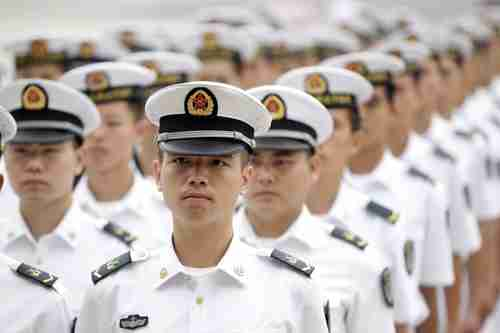 Chinese People's Liberation Army navy sailors on July 19 in Beijing (Reuters)