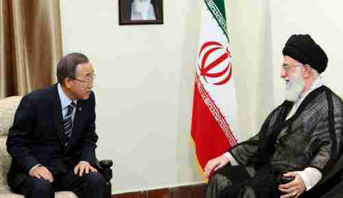 Ban Ki-moon and Ayatollah Ali Khamenei in Tehran on Wednesday (AP)
