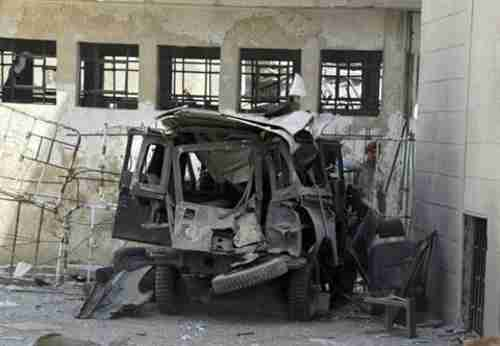 Bomb wreckage in Damascus on Sunday