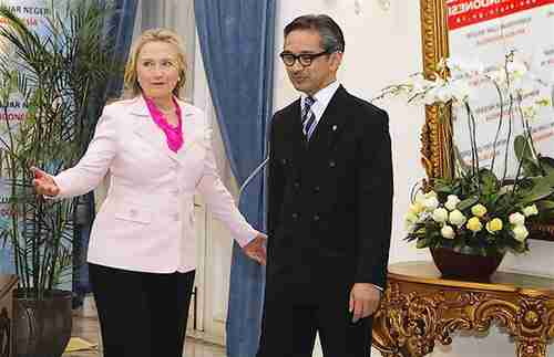 Hillary Clinton and Indonesia's Foreign Minister Marty Natalegawa on Monday (Reuters)