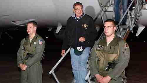 Leon Panetta arrives at Yokota Air Base near Tokyo (AP)