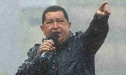 Hugo Chavez campaiging on Friday (AFP)