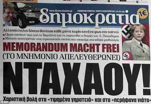 Merkel depicted in as Nazi in Greek newspaper Democracy, February 2012