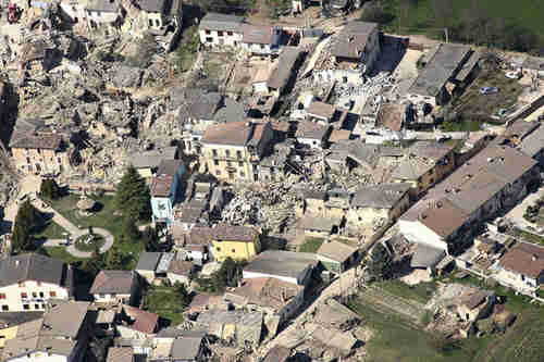 Aftermath of April, 2009, earthquake in city of L'Aquila Italy (AP)