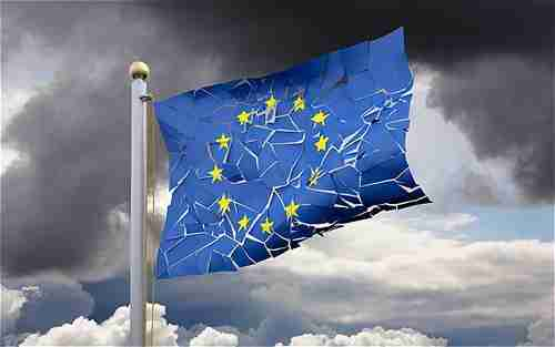 Cracked euro flag (Telegraph)
